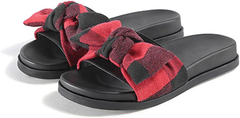 JIANXIN Coole Sandalen Und Hausschuhe Frauen Sommer Tragen Flachen Flachen Boden Mode Wilden Bogen Net Rot Dicken Boden Hausschuhe (Farbe   rot, Größe   EU 36 US 5.5 UK 3.5 JP 23cm)  Sparen Sie 60% Rabatt und schneller Versand weltweit