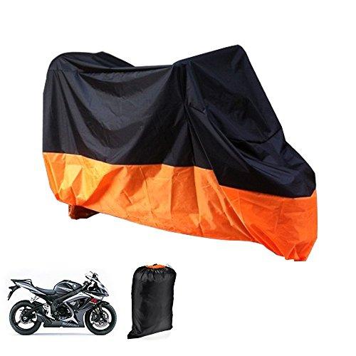 Price comparison product image Motorcycle Cover Lance Home Motorbike Waterproof Dustproof Outdoor Cover Black&Orange for Honda Kawasaki Suzuki Yamaha Harley Davidson (XL,  245x105x125cm)