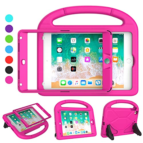 SUPLIK iPad Mini 4 5 for Kids, Built-in Screen Protector Durable Shockproof Protective Cover with Handle Stand for 7.9 inch Apple iPad Mini 4th 5th Generation, Pink