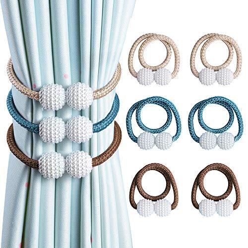 OTHWAY Abrazaderas magnéticas para Cortinas, prácticas alzapaños de Perlas Decorativas para Cortinas (Beige+Azul+Marrón, 6 Unidades)