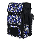 Boombah Rolling Superpack Baseball / Softball Gear Bag - 23-1/2' x 13-1/2' x 9-1/2' - Camo Black/Royal Blue - Telescopic Handle and Holds 4 Bats - Wheeled Version