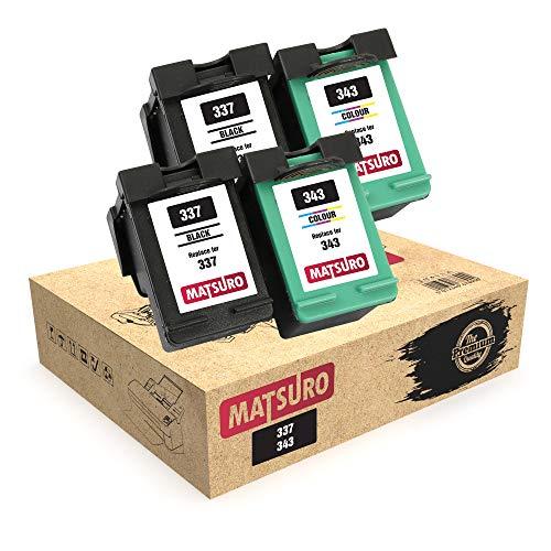 Matsuro Original | Compatible Remanufactured Cartuchos de Tinta Reemplazo para HP 337 343 (2 Sets)