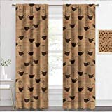 painting-home Kids Blackout Curtains Coffee, Coffee Cups Espresso Insulating Blackout Drapes for Nursery & Playroom W63 x L45 Inch