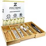 Zen Home ® Besteckkasten - Größenverstellbarer Schubladeneinsatz mit 5 bis 7 Fächern - Küchenhelfer - Besteckeinsatz aus nachhaltigem Bambus mit 4 rutschfesten Noppen am Schubladen Ordnungssystem