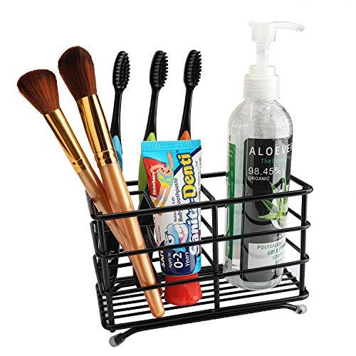 A/N Toothpaste Holder Bathroom Stainless Steel Toothbrush Holder Powered Toothbrush Storage Black