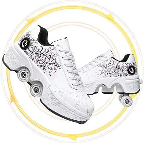 Deformación 4 Rueda Patines En Paralelo Zapatos Multiusos 2 En 1 Skate Ligeros Calzado para Niñas Y Niños para Hombres Mujeres