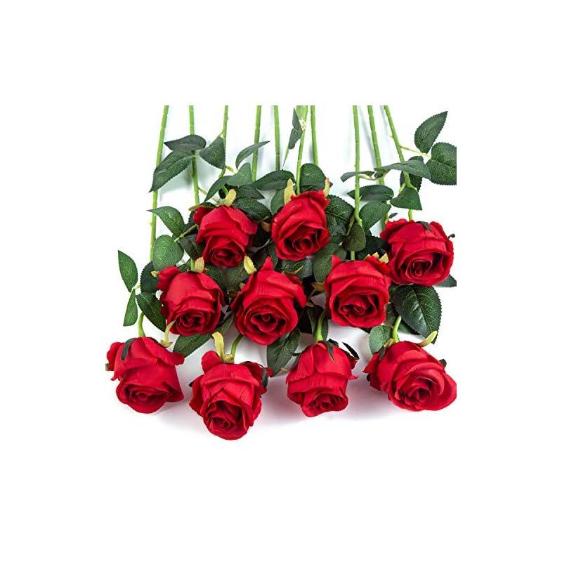 silk flower arrangements flojery 10pcs artificial rose flowers long stem fake silk roses for diy wedding bouquet table centerpiece home decor,red
