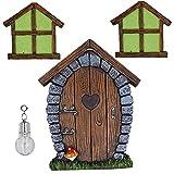 Hada Gnome Inicio ventana y puerta en miniatura para los árboles de decoración, resplandor en las hadas oscuras dormir puertas y ventanas, de Hugger del árbol césped de la yarda adorno de la
