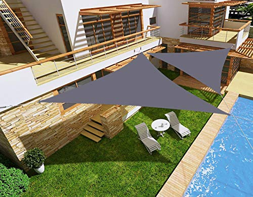 HENG FENG Toldo Vela de Sombra Impermeable Triangular 3 x 3 x 3 m Protección Rayos UV PES Repelente del Agua Resistente a la Intemperie para Patio Exteriores Jardín Color Antracita