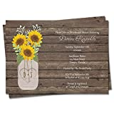 Sunflower Bridal Shower Invitations Wedding Invites Wood Rustic Sunflowers Mason Jar Country Summer Rescheduled Event Save the Date Postponed Printed Customized Personalized Custom Cards (12 count)