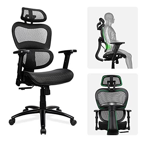 Komene Ergonomic Mesh Office Chair, High Back Computer Desk Chair with 3D Armrest, Adjustable Headrest and Lumbar Support, Breathable Home Office Chair, Executive Task Chair(Black)