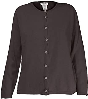 Petite Basic Crew Neck Long Sleeve Knit Sweater Cardigan