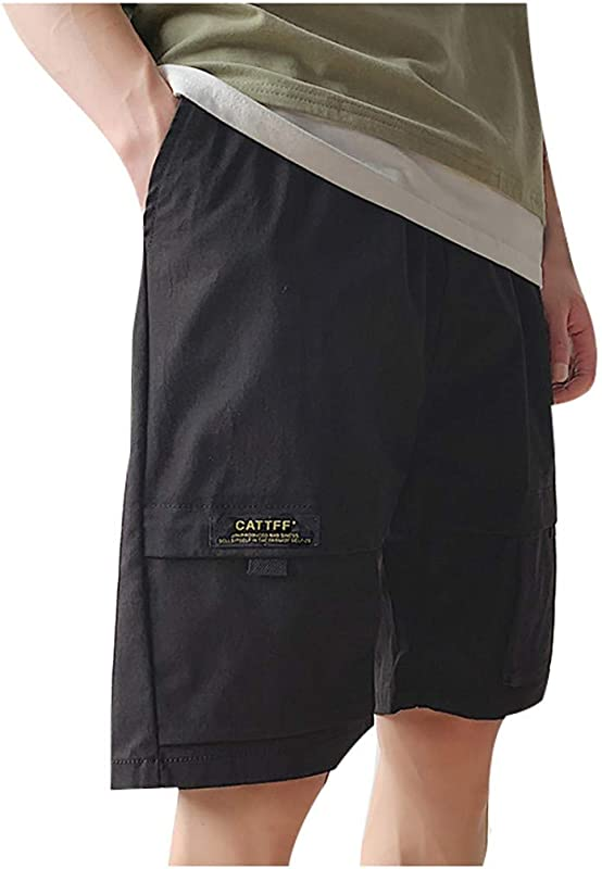 RoDeke New Men S Summer Outdoor Cargo Shorts Relaxed Fit Multi Pockets Elastic Waist Casual Solid Color Shorts