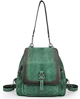 Luxurious Fashion Gradient Color First Layer Cowhide Women's Backpack Retro Trend Shoulder Bag Outdoor Leisure Large Capacity Messenger Bag (29 * 15.3 * 27.5CM) (Color : Green)