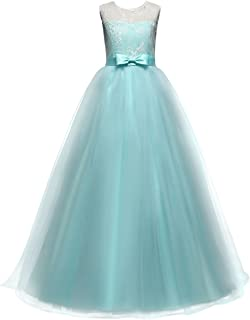 Little Big Girl Flower Deep-V Back Lace Pageant Long Dress Wedding Party Formal Evening Dance Gowns