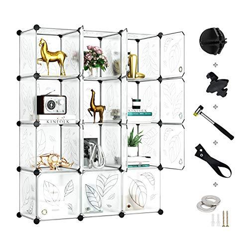 Greenstell 12 Cubos Organizadores para Almacenamiento con Puertas, Estantes de Plástico Apilables DIY, Multifuncionales, Modulares, Estantería de Armario para Libros, Ropa(Blanco)