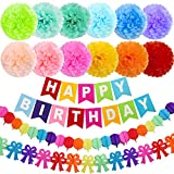 ZJHAI 15pcs 10 Inches Birthday Paper Pom Poms (12 Colors), Happy Birthday Party Bunting Banner, Colorful Paper...