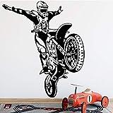 Pegatina de pared para conductor de acrobacias de motocicleta pegatinas de pared pegatina de pared de moda moderna accesorios de decoración del hogar para habitación A9 58x67cm
