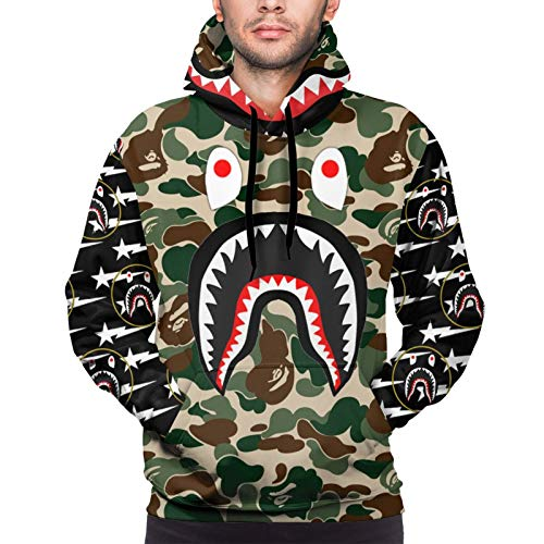 Men's Novelty Camo B-A-Pe Shark Art Pullover Hoodie With Front Pocket, Air Permeability Sweatshirt Hoodie 3D Print Adults Jacket Tracksuit For Casual Cozy Sport Hip Hop Outwear, Shark Art Cosplay