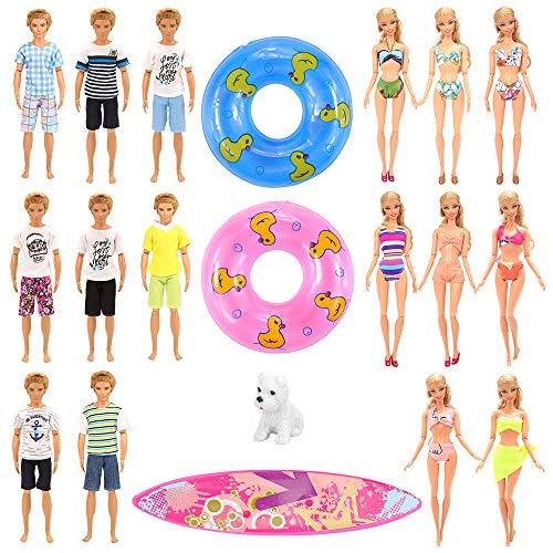 Miunana 12 PCS Kleider & Puppenzubehör für Puppen (3 Strandkleidung & 5 Bademode & 1 Surfbrett & 2 Rettungsring & 1 Hund)
