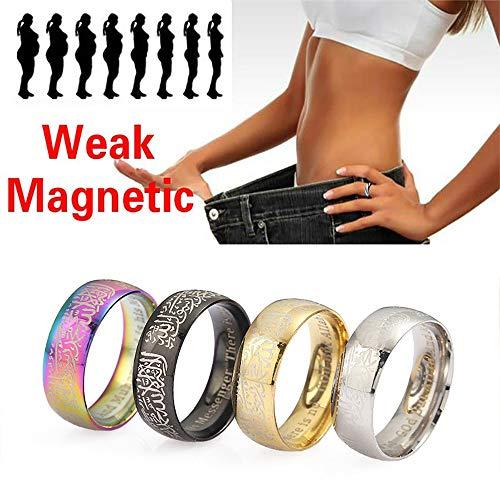 LONG-X 2 STK Magnetic Abnehmen Magnetische Gewichtsverlust Ring Werkzeuge Fitness Reduzieren Gewicht Ring String Stimulierung Akupunkturpunkte Gallenstein Ring,Silber,17mm