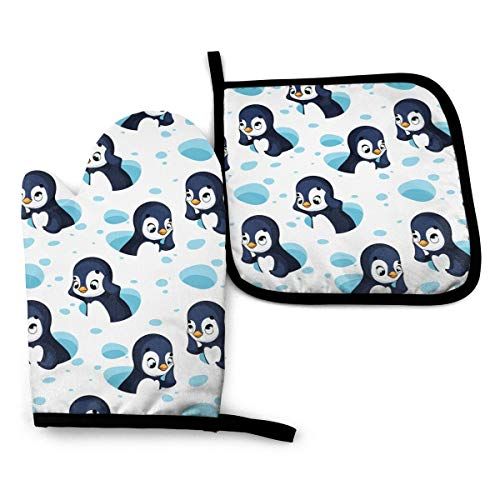 LQLDHJ Funny Cartoon Penguins Oven Mitts and Potholders BBQ Gloves Non-Slip Cooking Gloves for Cooking Baking Grilling