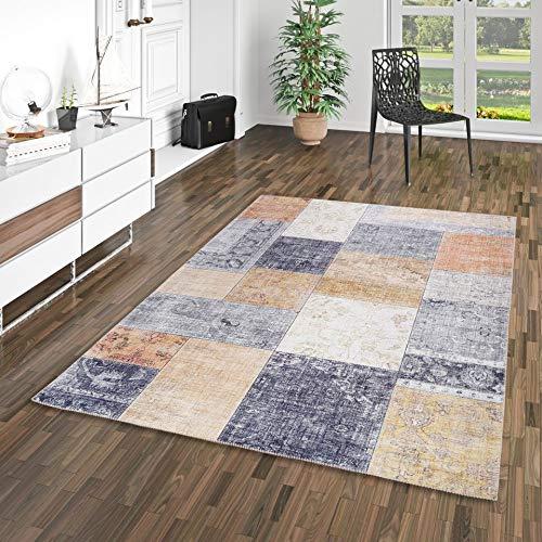 Pergamon Luxus Vintage Designer Teppich Primus Grau Beige Patchwork in 5 Größen