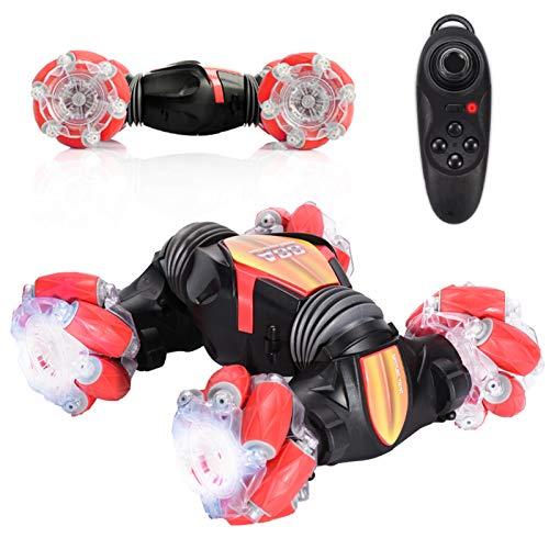GRASARY Coche teledirigido 4WD 2,4 GHz 360 grados de rotación RC Stunt Crawler todoterreno 2 baterías 25+ min juego de carreras con luces, perfecto regalo para niños rojo