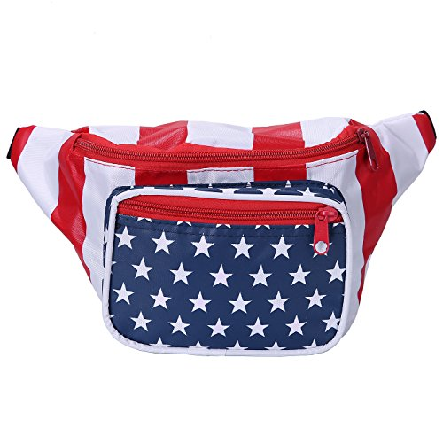HDE Fanny Pack [80's Style] Waist Pack Outdoor Travel Crossbody Hip Bag (American Flag)