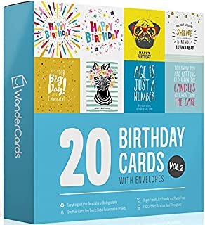Sponsored Ad – 20 Birthday Cards Multipack + Envelopes   Plastic Free Eco Friendly Packs of Greeting Cards Hand-Packed in ...