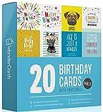 20 Birthday Cards Multipack + En...