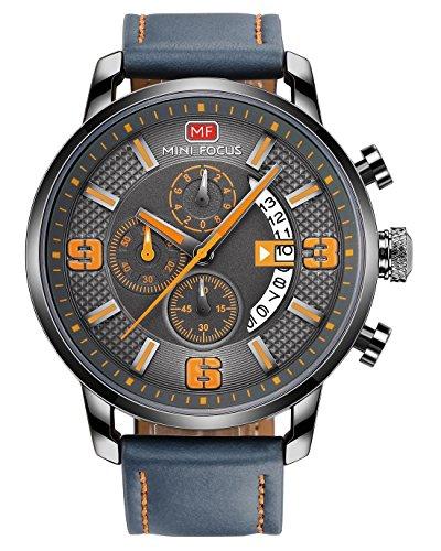 Mini Focus - Business-polshorloge voor heren, multifunctioneel, met siliconen band, chronograaf datum - Oranje