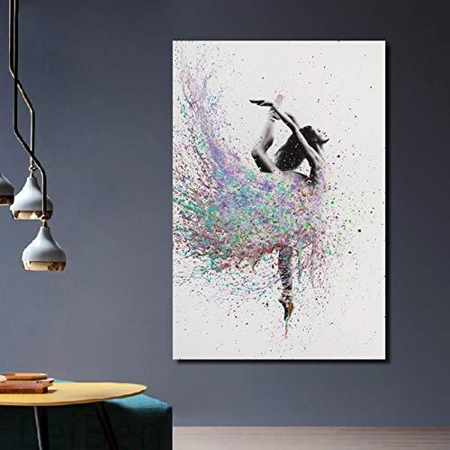 tzxdbh Moderne Aquarell Balletttänzer Tanz Poster Drucken Bild Home Schlafzimmer Wandkunst Graffiti Dekorative Leinwand Benutzerdefinierte Malerei 60x80cm