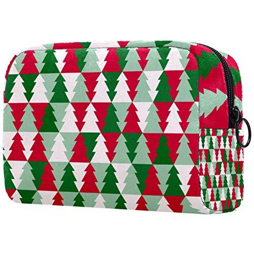 Bolso de Organizador Maquillaje en Viaje Bolsa Cosmetica Bolsa de Neceser con Gran Capacidad Almacenamiento de Maquillaje Cosmético Neceseres de Viaje Árbol de Navidad de Color 18.5x7.5x13cm