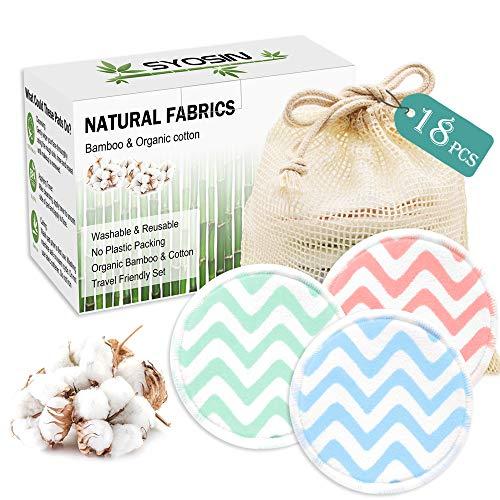 SYOSIN Coton Demaquillant Lavable, Tampons Démaquillants Fibre de Bambou, Tampons En Coton Biologique Réutilisables Avec Sac À Lessive
