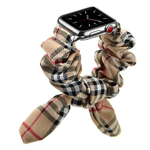 OXWALLEN Size Adjustable Velvet Scrunchies Compatible for Apple Watch Band 38mm 40mm Scrunchie Serie SE/6/3/4/5/6, Women Girls Elastic Straps for iWatch 38MM/40MM - Classic Stripes/Silver