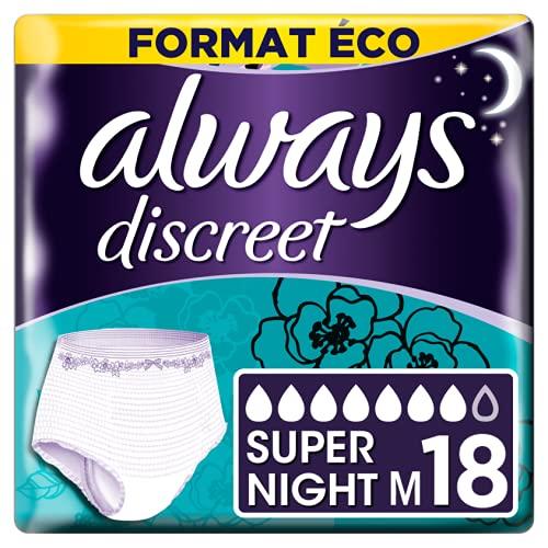 Always Discreet - Culottes pour incontinence   fuites urinaires, Taille M, Format éco - 2x9 culottes - 7 gouttes