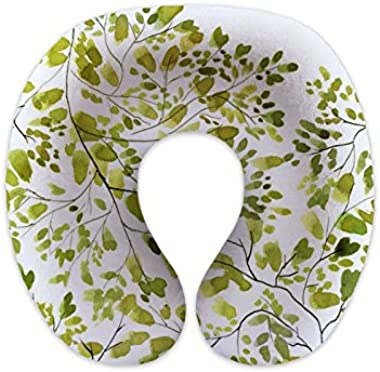 wendana Green Leaves U Neck Pillows Travel Neck Pillows for Flight for Airplane for Sleeping Children Neck Pillows Memory Foam Gifts for Kids