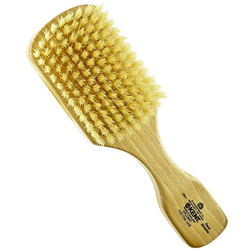 Kent OS11 Dual Timber Rectangular Military Club Hair Brush and Facial Brush for Beard Care, Natural Boar Bristle Brush for Mens Grooming, Hair Care and Beard Straightener for Men's. Made in England