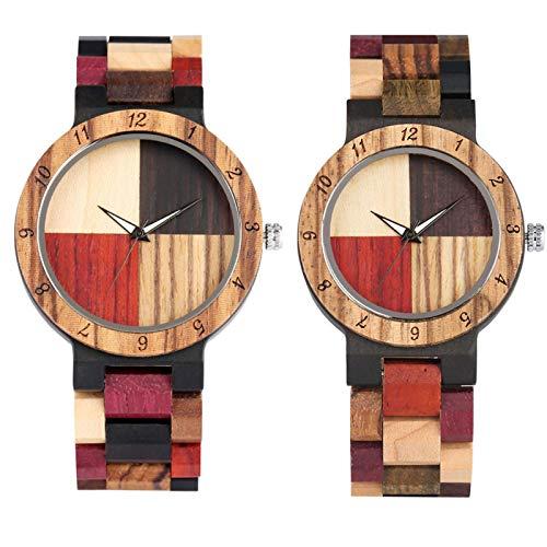 Reloj de Madera Parejas Reloj de Pulsera de Madera de Cuarzo Cierre Plegable Amante Relojes de Madera Natural CoupleWatch1