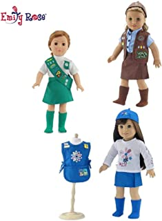 Emily Rose 18-inch Doll Clothes   Value Pack - 3 Girl Scout Inspired Modern Uniforms, Including Daisy, Brownie and Junior Scout Outfits   Fits American Girl Dolls