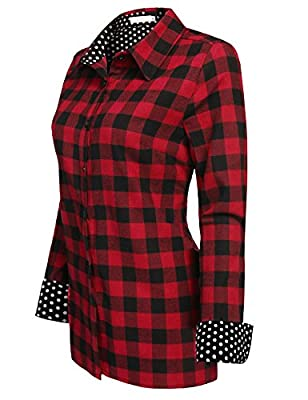 Women Plaid Shirt, Jingjing1 Ladies Casual Roll Up Sleeve Button Down Boyfriend Shirt,Red,Small