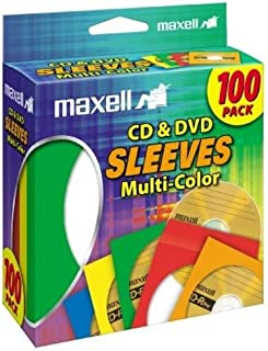 Maxell 190132 CD & DVD Paper Storage Envelope Sleeves with Heavy-duty Paper and Clear Plastic Window Multi-Color 100 Pack ...
