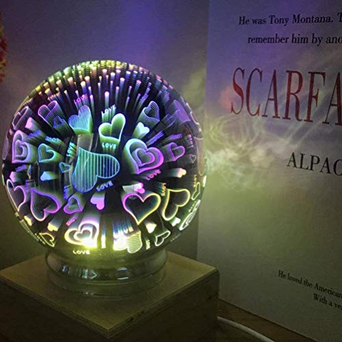 Luz Nocturna portátil, luz Nocturna 3D Starburst, lámpara de Mesa LED en Forma de E de Huevo de Vidrio de Fuegos Artificiales, con lámpara de Noche USB, decoración de la Sala de Estar