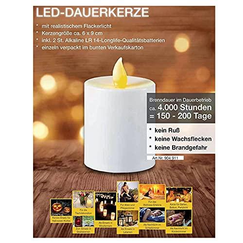 PREMIUM Grablicht LED | Grabkerze Led mit Batterien für lange Brenndauer von bis zu 6 Monaten LED Grablicht mit Flackereffekt wie bei einer echten Kerze | Friedhofskerze | Gedenkkerze | Dauerkerze