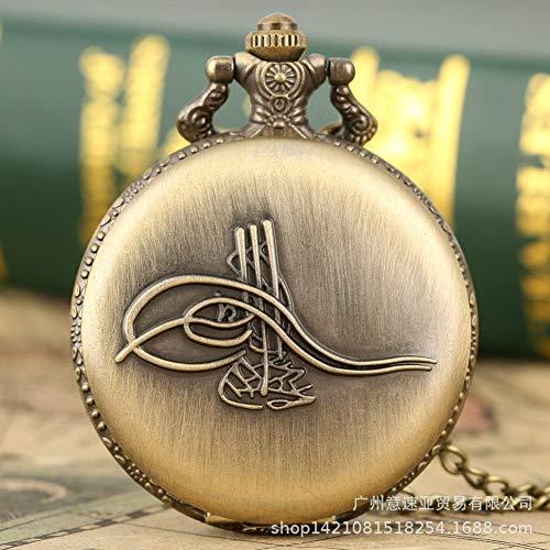 FEELHH Vintage Ketten Taschenuhr,Classic Nostalgia Feine Halskette Hängender Tisch Antike Römische Ziffern Taschenuhr Grüne Alte Musikinstrument Symbol Logo Quarz Taschenuhr
