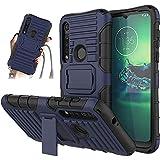 JammyLizarD Outdoor Hülle kompatibel mit Motorola Moto G8 Plus Schutzhülle mit Handyband [Taurus] Doppelschutz Hardcase Silikon TPU Skin, Dunkelblau