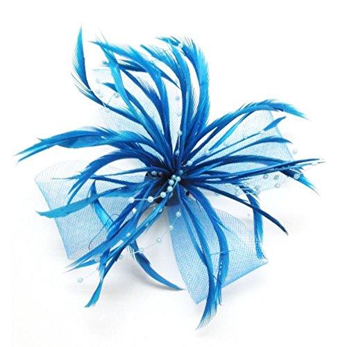 Turquoise net Nœud Et Plumes Pince bec Broche corsage cheveux Bibi mariage