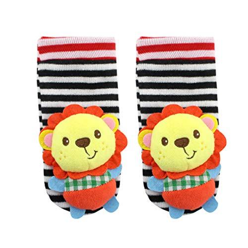 TOYANDONA 1 par de Calcetines para Buscadores de Pies de Bebé, Lindos Elefante/Mono/León/Panda Calcetines Suaves para Bebés Juguetes para Desarrollo Educativo (León)