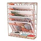 WJYLM Hängende Wand Datei Organizer, Zeitungsständer 5 Slot Draht Metall Wand Dokumenthalter für Office Home, Briefsortierer Rack,40.6 * 30.4 * 10.6cm